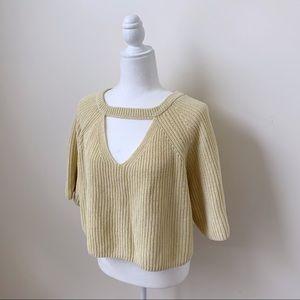 Love More Yellow Knit Choker Cropped Sweater